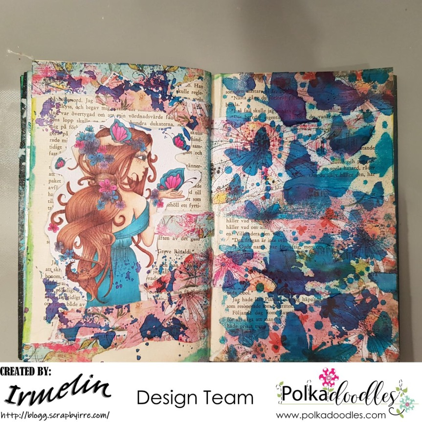 Art Journal page with Eden Blossoms and two stencils