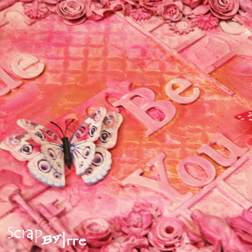 Mixed Media Canvas in pink withbutterflies
