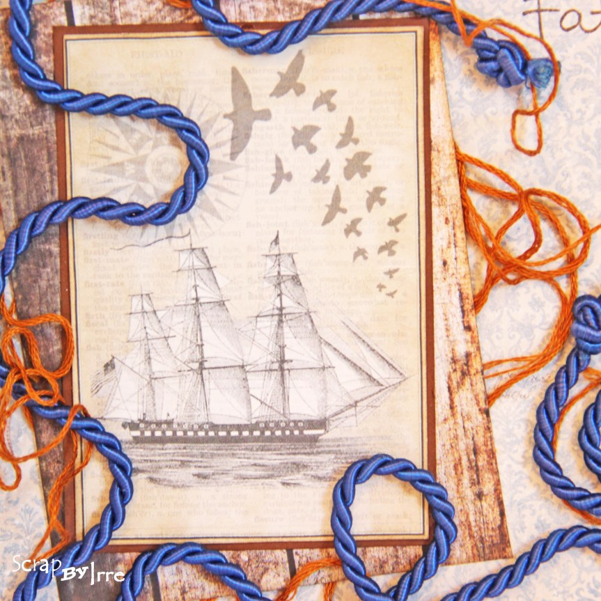 Fathers day card with a ship andstrings