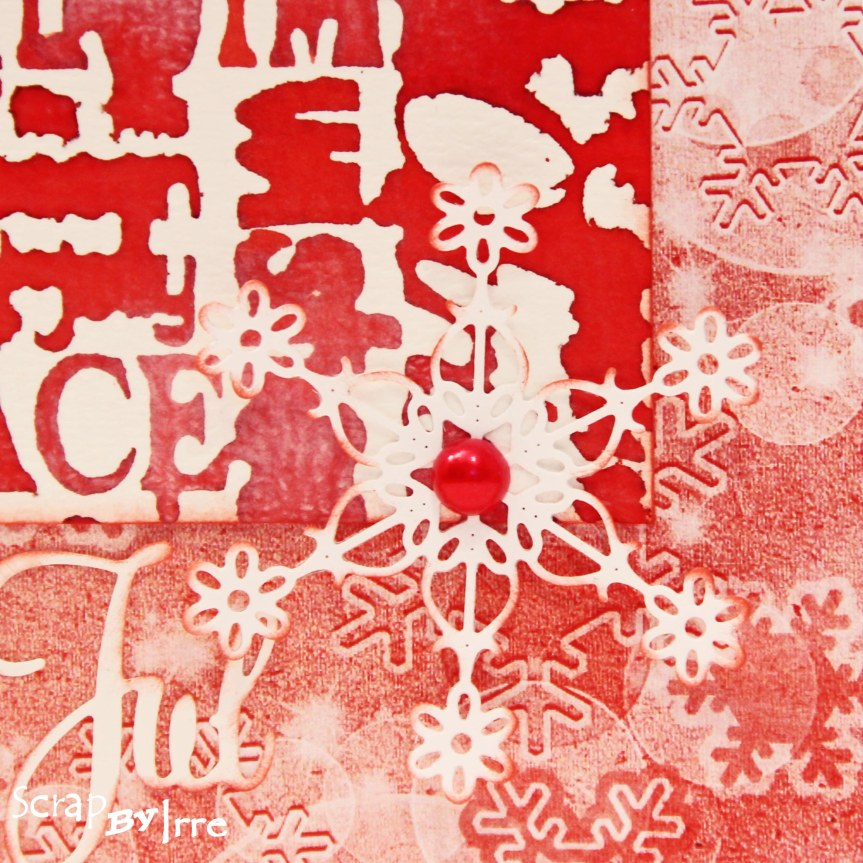 Christmas card with a background stamp and Dylusions ink spray