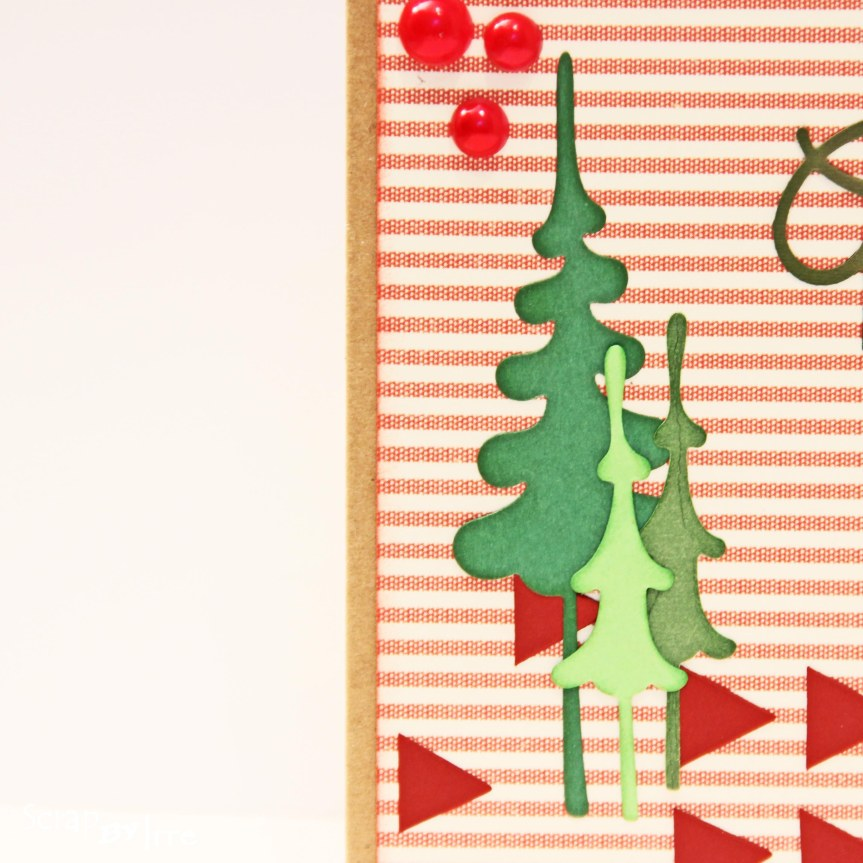 Christmas card with green Christmas trees