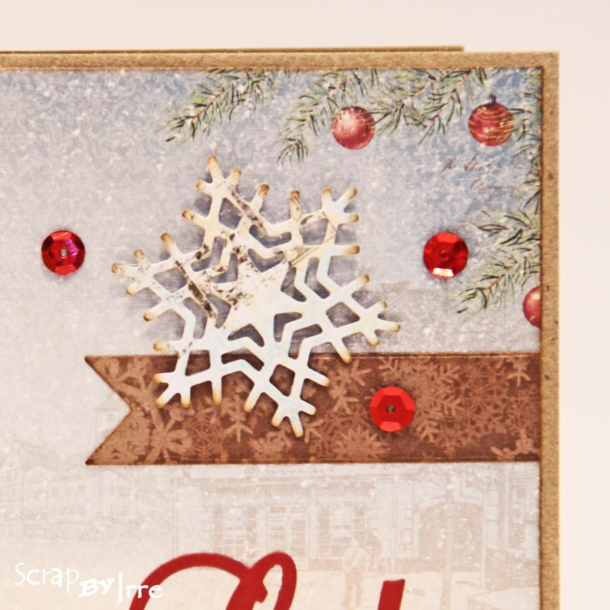 Christmas card with a patterned paper and sequins