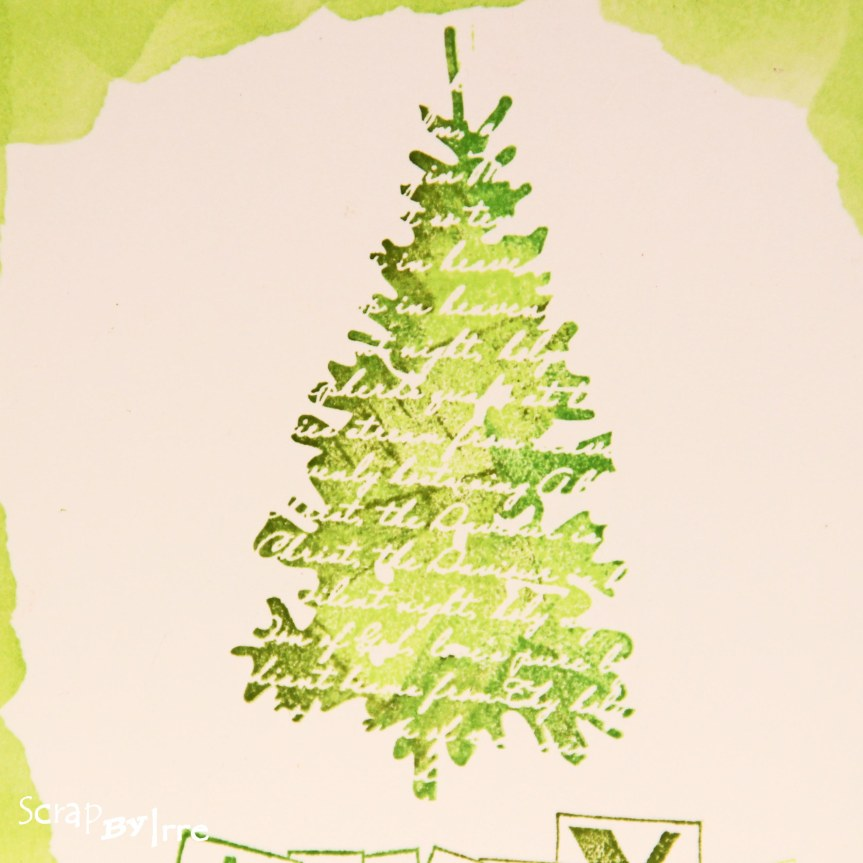 Christmas card with a stamped Christmas tree