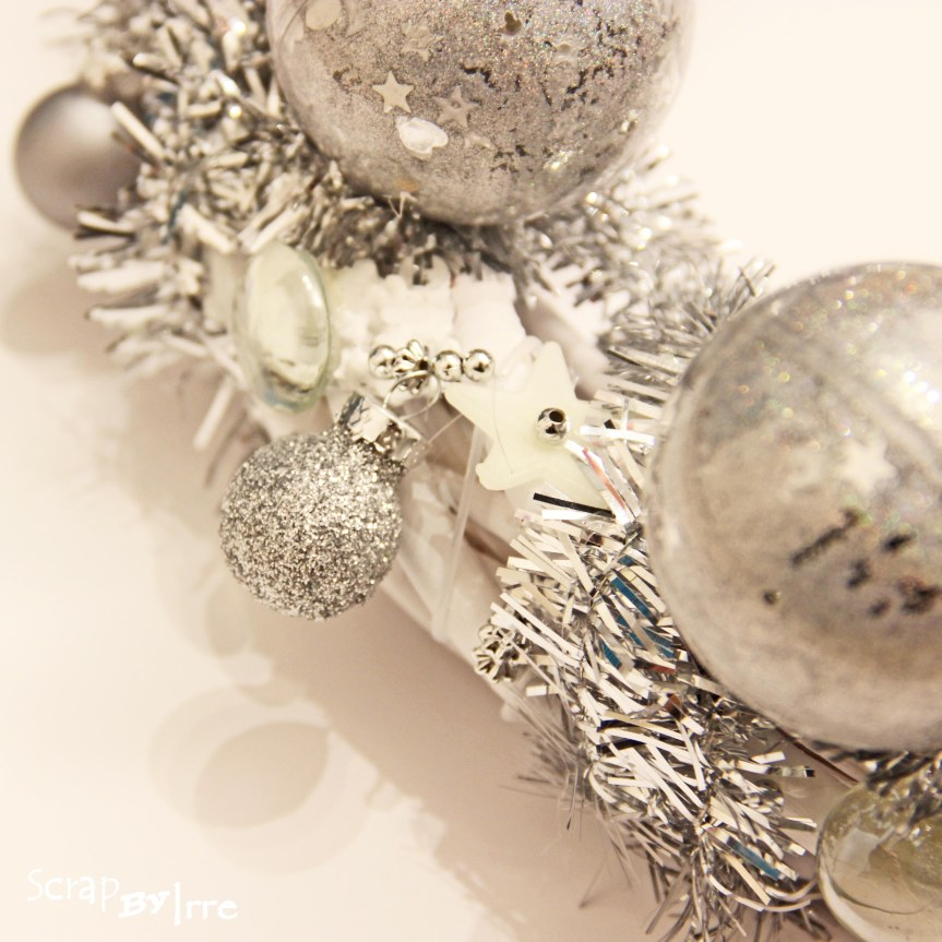 Christmas door wreath in silver
