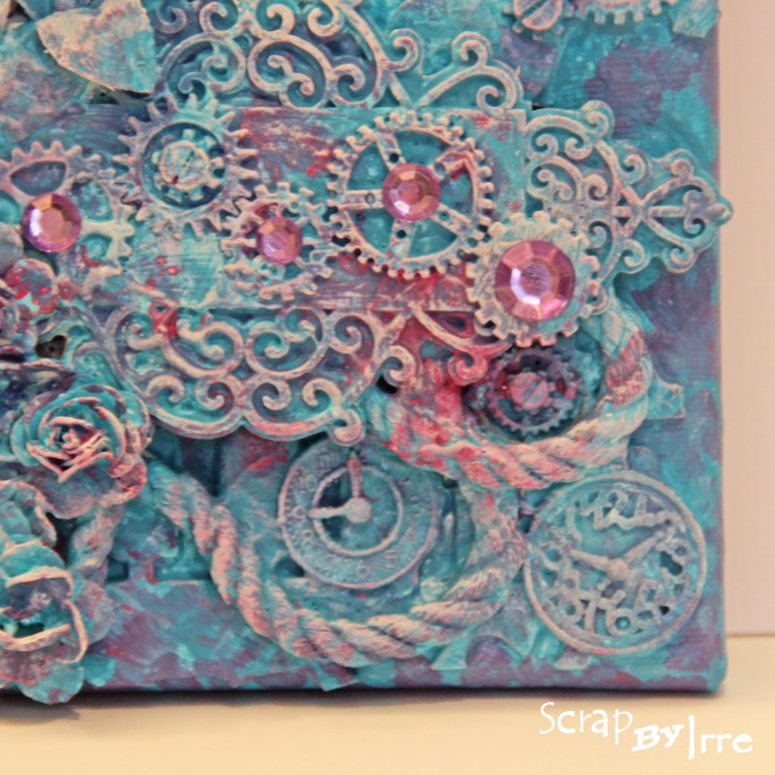 Canvas with modeling paste and acrylicpaints