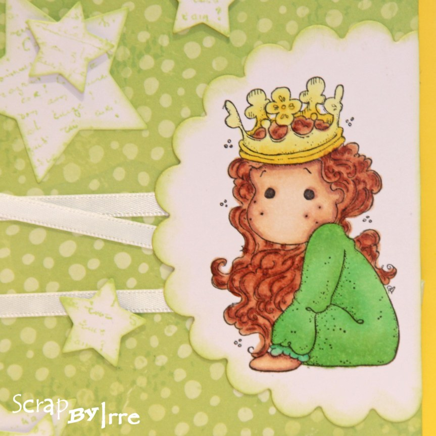 Baby card with stars and a colored stamp