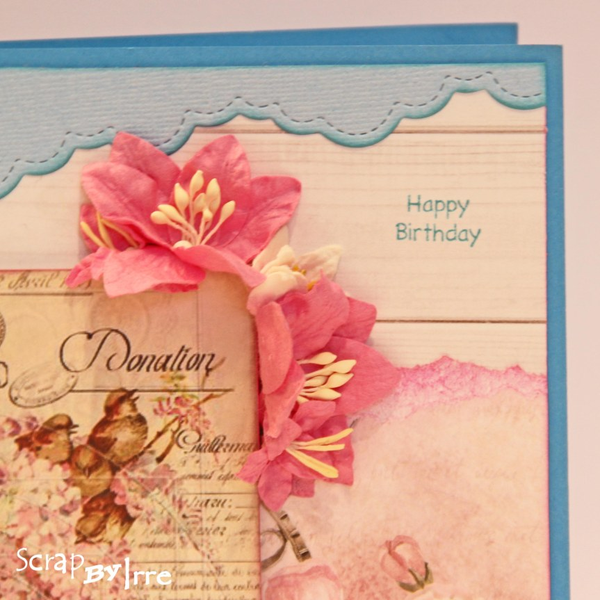 Birthday card with birds andflowers