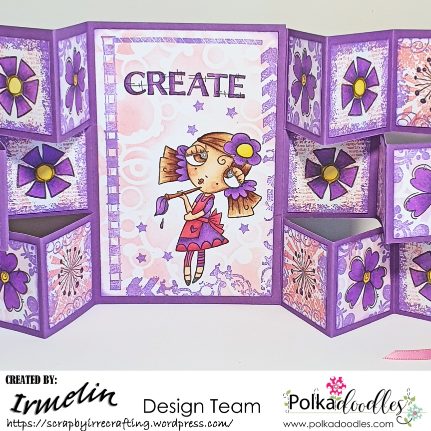 Double tri-fold shutter card with Weirdre Just Create