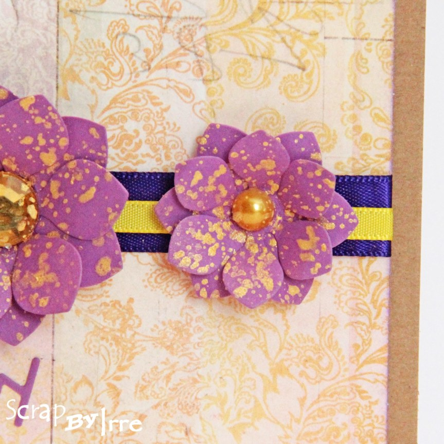 Easter card with die-cut flowers and splats with Inkagold