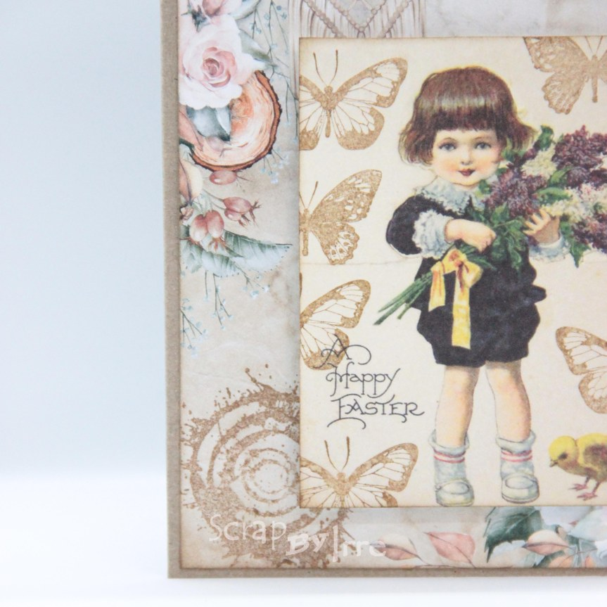 Easter card with a patterned paper and somestamping