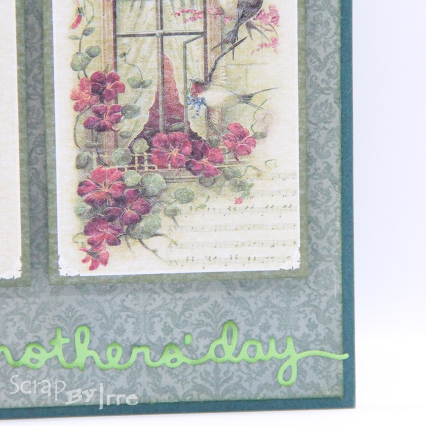 Mother's day card with pics from a cut-out sheet and edge die-cutting