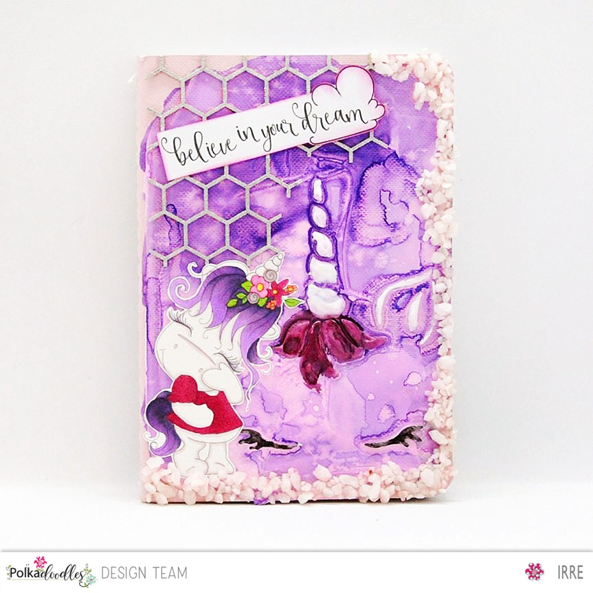 Altered notebook with Camera Shy 1 – Polkadoodles Sparkles release