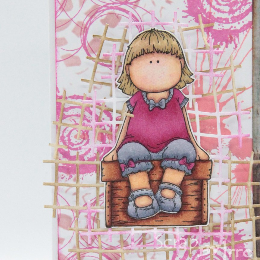 Birthday card with a stamped background and a coloredstamp