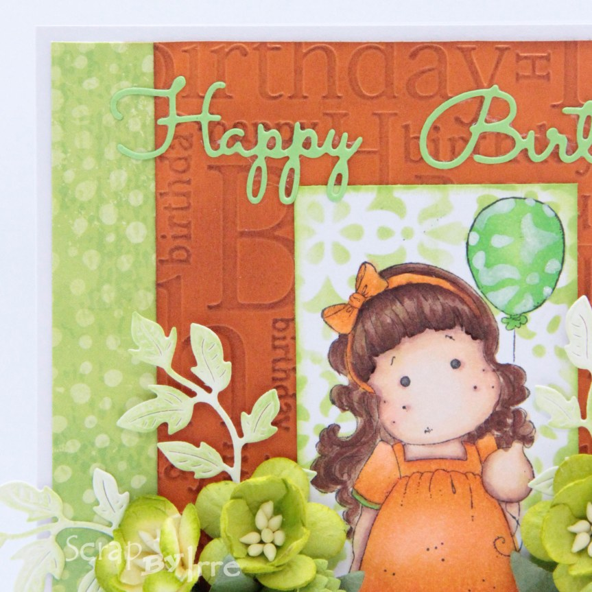Birthday card with an embossing folder and a coloredstamp