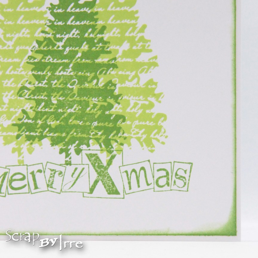 Christmas card with stamped Christmastrees