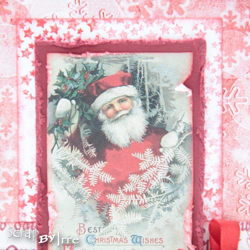 Christmas card in red colors with a pic from a cut-out sheet