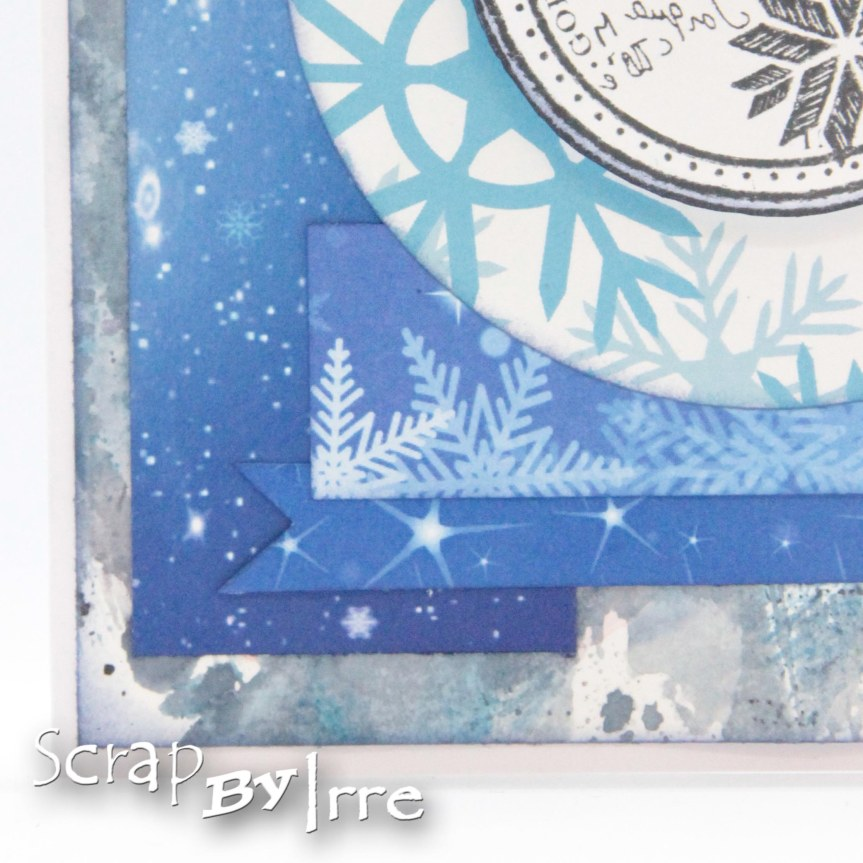 Christmas card with blue patterned papers